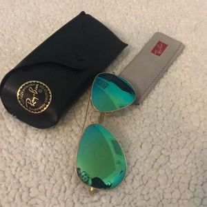 Ray-ban Flash Lens Aviators w/case & wipe